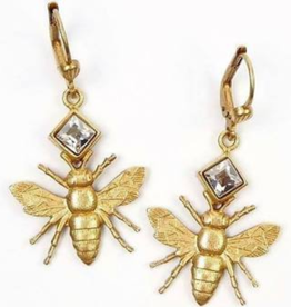 EARRING GOLD BEE WITH LARGE SIDEWAYS SQUARE RHINESTONE