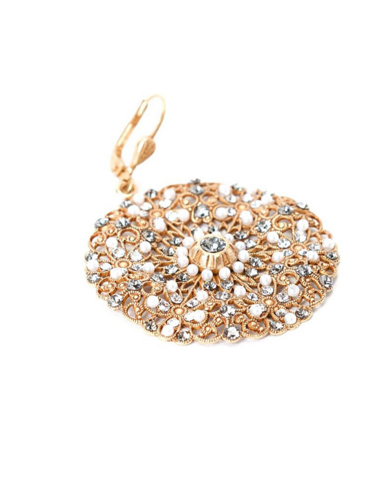 LA VIE PARISIENNE INC EARRING GOLD ROUND LARGE FILEGREE WITH BLUE CRYSTALS