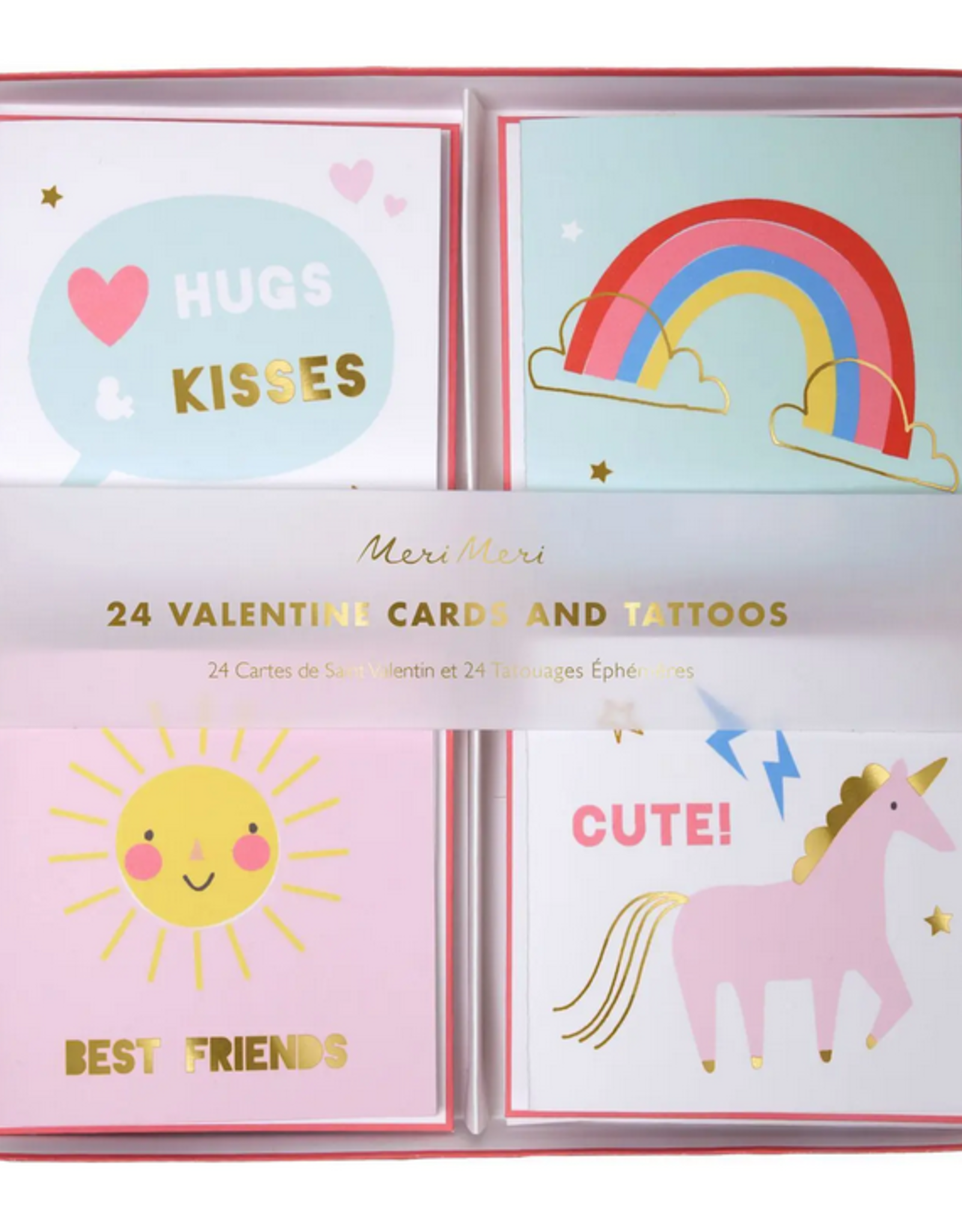 VALENTINES DAY CARD AND TATTOOS SET UNICORN