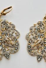 EARRING LARGE PLUME ENAMEL GOLD