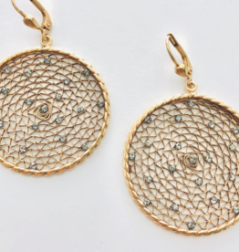 LA VIE PARISIENNE INC EARRING GOLD LACE LARGE WITH CRYSTAL