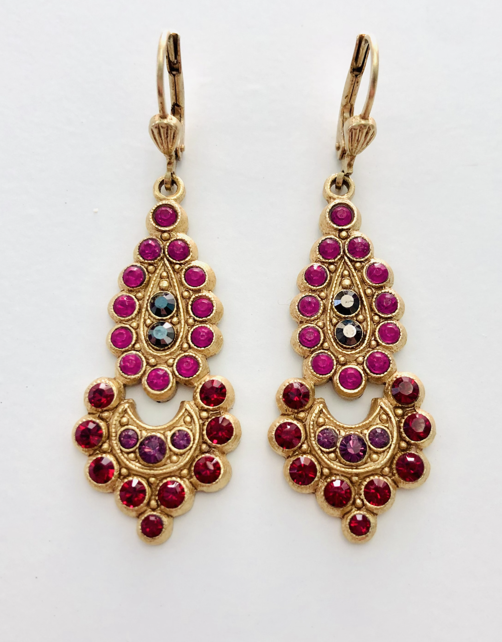 LA VIE PARISIENNE INC EARRING PINK AND RED RHINESTONES ON GOLD