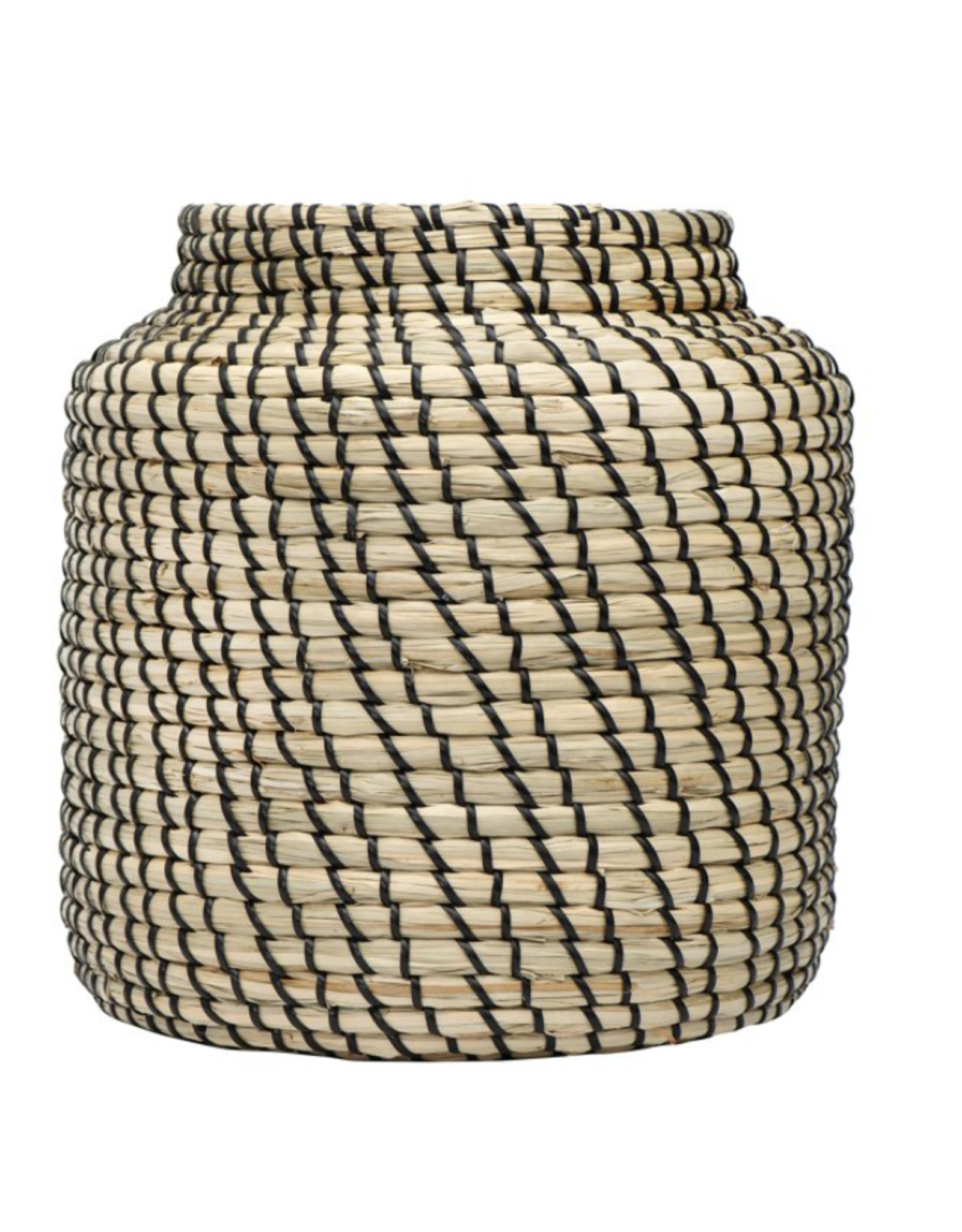 """HAND WOVEN SEAGRASS BASKET - NATURAL AND BLACK 11"""" ROUND X 11-3/4""""H"""