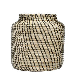 "HAND WOVEN SEAGRASS BASKET - NATURAL AND BLACK 11"" ROUND X 11-3/4""H"