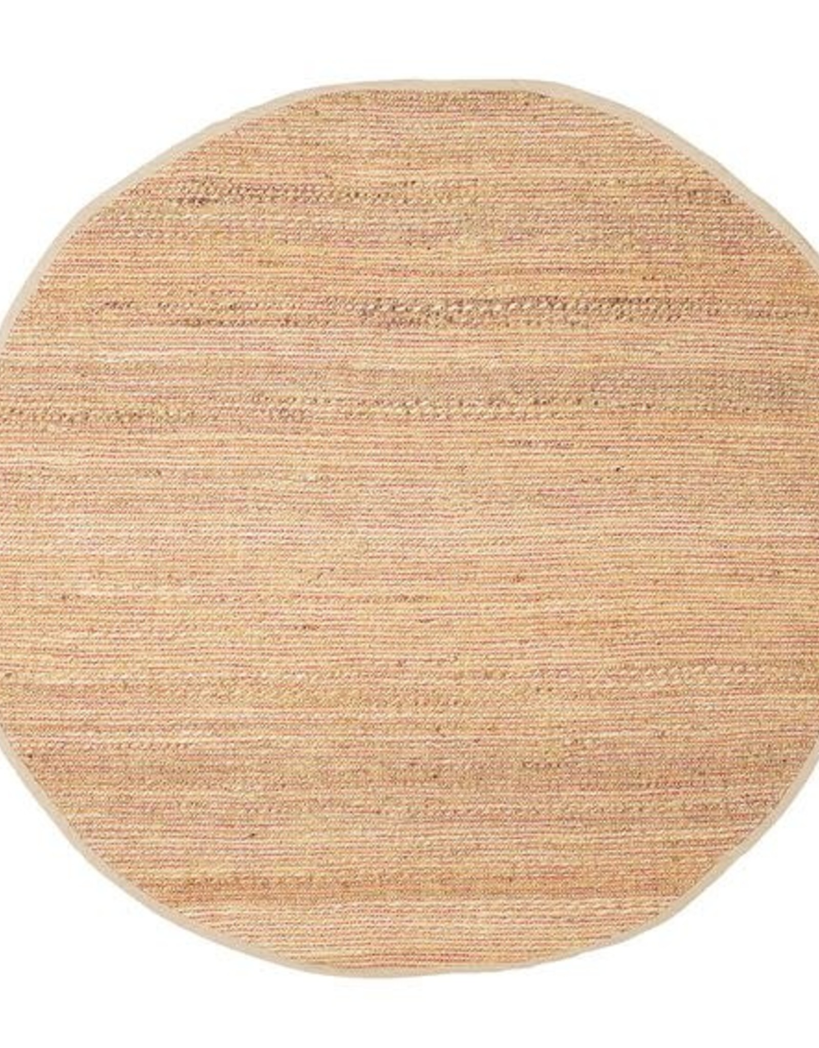 RUG WOVEN ROUND JUTE AND CHENILLE PINK 4FT