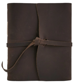 NOTEBOOK LEATHER TRAVELER JOURNAL FLAP TIE DARK BROWN