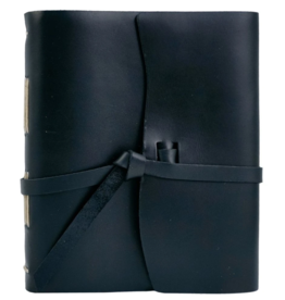 NOTEBOOK LEATHER TRAVELER JOURNAL FLAP TIE BLACK