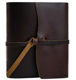 NOTEBOOK LEATHER TRAVELER JOURNAL FLAP TIE BURGUNDY