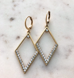 EARRING DIAMOND SHAPED WITH CRYSTALS GOLD