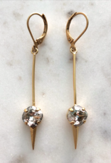 LA VIE PARISIENNE INC EARRING CLIP HOOK SPEAR SPIKE WITH ROUND CRYSTAL GOLD