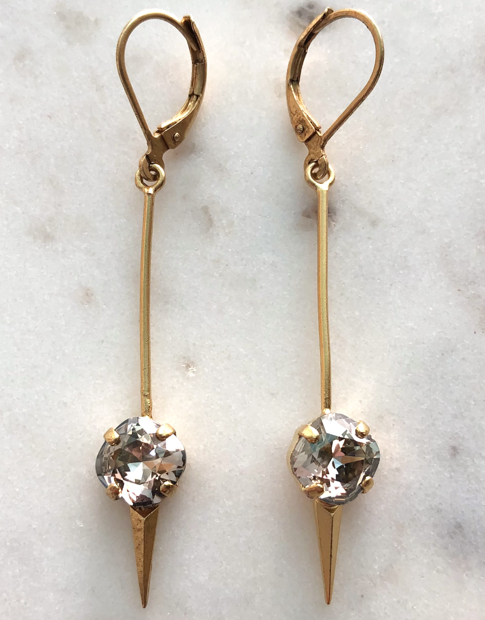 EARRING CLIP HOOK SPEAR SPIKE WITH ROUND CRYSTAL GOLD