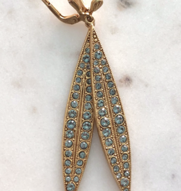LA VIE PARISIENNE INC EARRING LONG SPEAR WITH RHINESTONES 2 INCHES GOLD