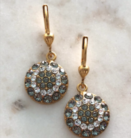 EARRING GOLD ROUND PAVE SET CRYSTAL DANGLE