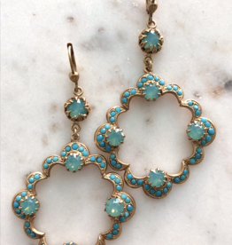 LA VIE PARISIENNE INC EARRING SCALLOPED HOOP WITH TURQUOISE GOLD