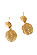BLUMA PROJECT EARRING DANGLE MITRA TWO DISCS WITH RAISED TEXTURED ACCENTS GOLD