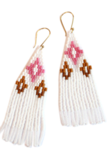 EARRING DANGLE OJAI WHITE BROWN AND PINK