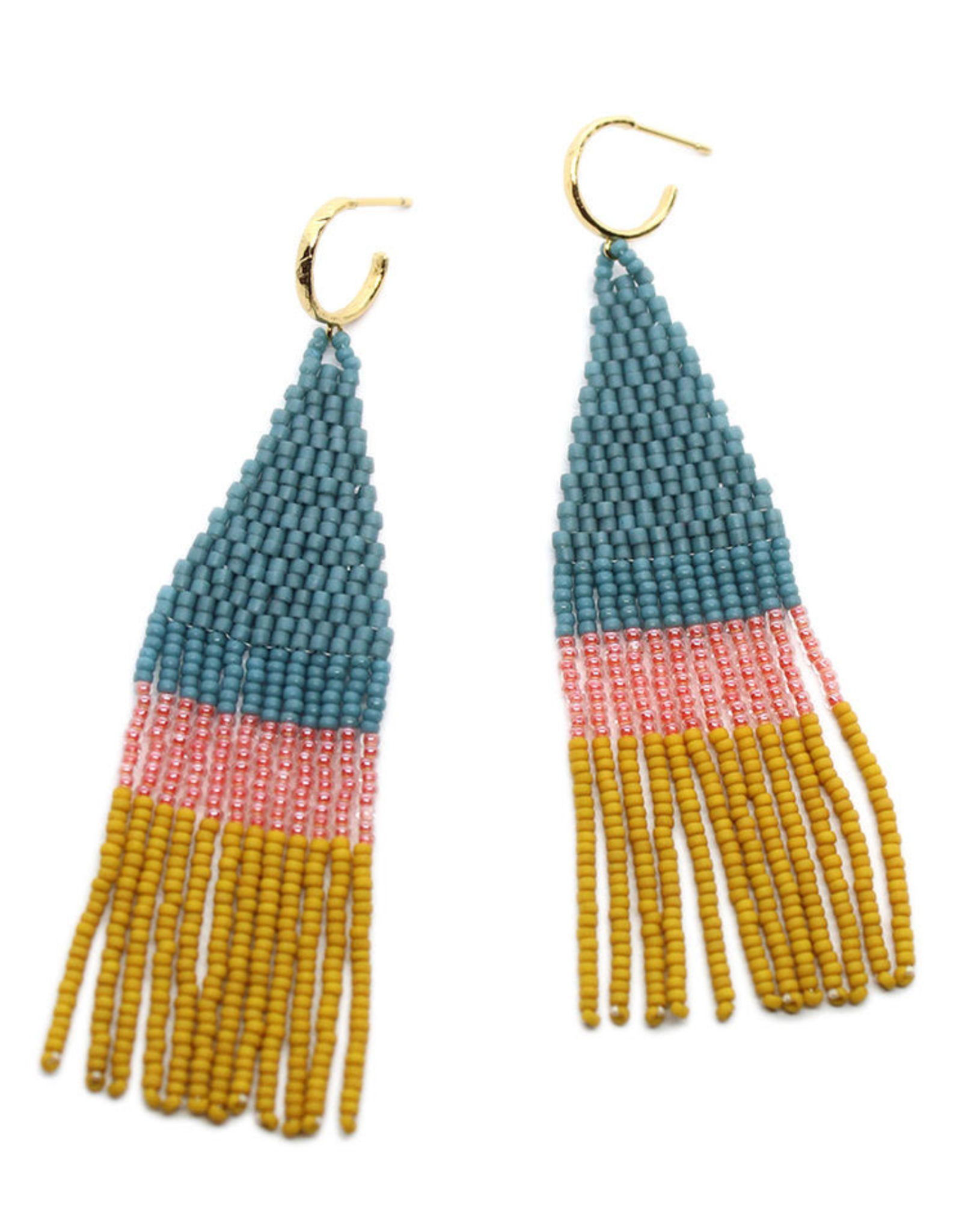 BLUMA PROJECT EARRING DANGLE FRANJA DENIM BLUE PINK AND YELLOW BEADS