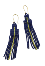 BLUMA PROJECT EARRING DANGLE ARROW NAVY AND GOLD BEADS