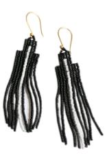 EARRING DANGLE ARROW BLACK AND WHITE BEADS