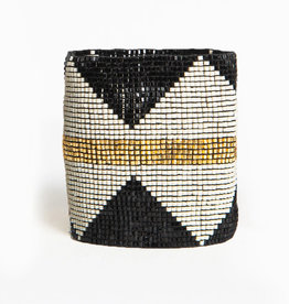BRACELET BLACK WITH IVORY DIAMONDS AND GOLD STRIPE LUXE