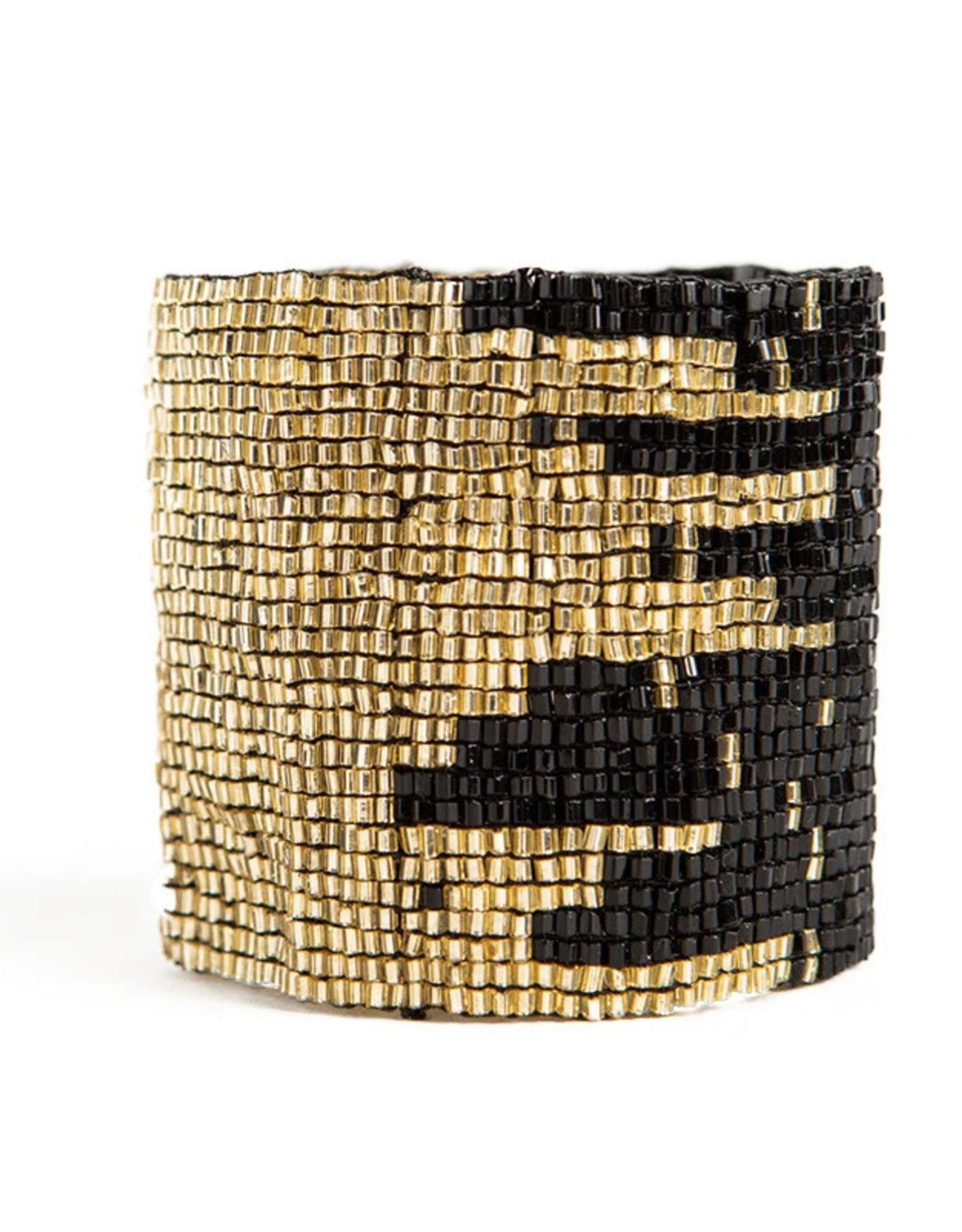 BRACELET BLACK AND GOLD STRETCH