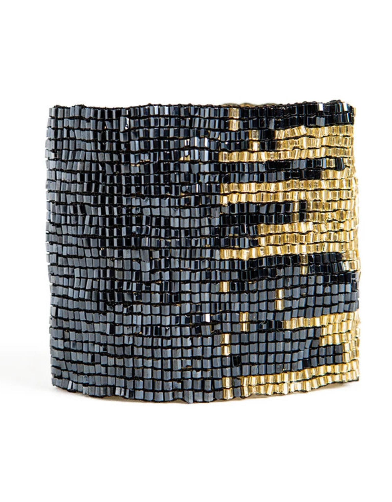 BRACELET BLUE AND GOLD STRETCH