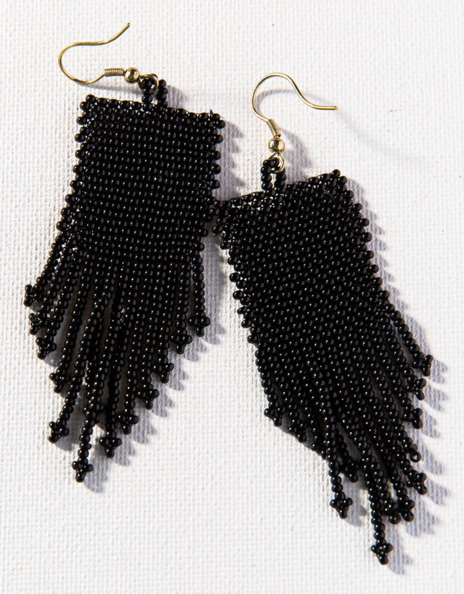 EARRING SEED BEAD 3.75 INCH BLACK