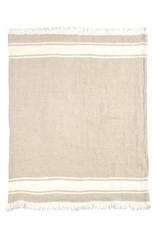 LIBECO LAGAE BLANKET THROW TOWEL FOUTA FLAX STRIPE 43 X 71