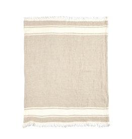 BLANKET THROW TOWEL FOUTA FLAX STRIPE 43 X 71