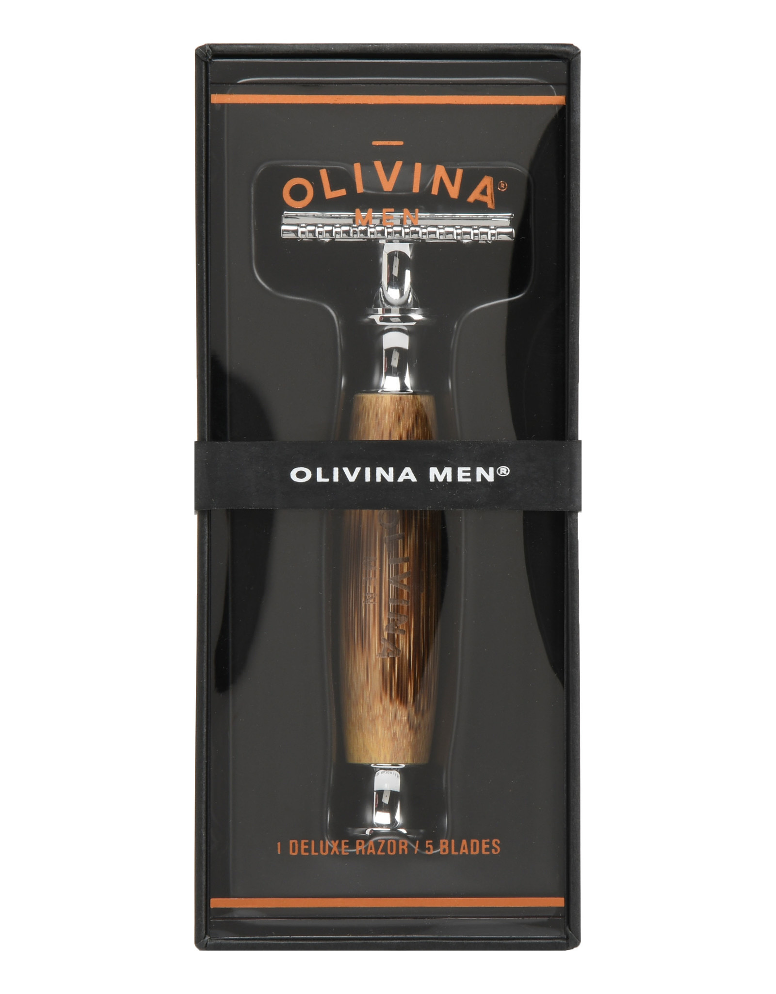 OLIVINA SAFETY RAZOR BAMBOO HANDLE WITH 5 REPLACEMENT BLADES