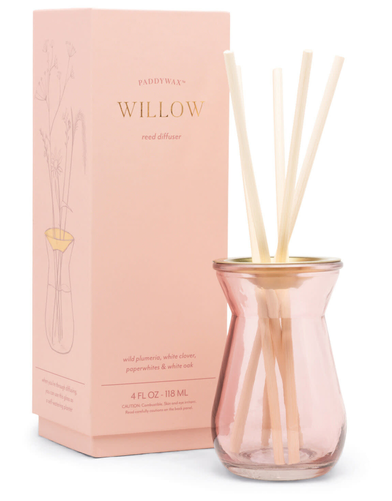 FRAGRANCE DIFFUSER FLORA WILLOW IN PINK GLASS BOTTLE 4OZ