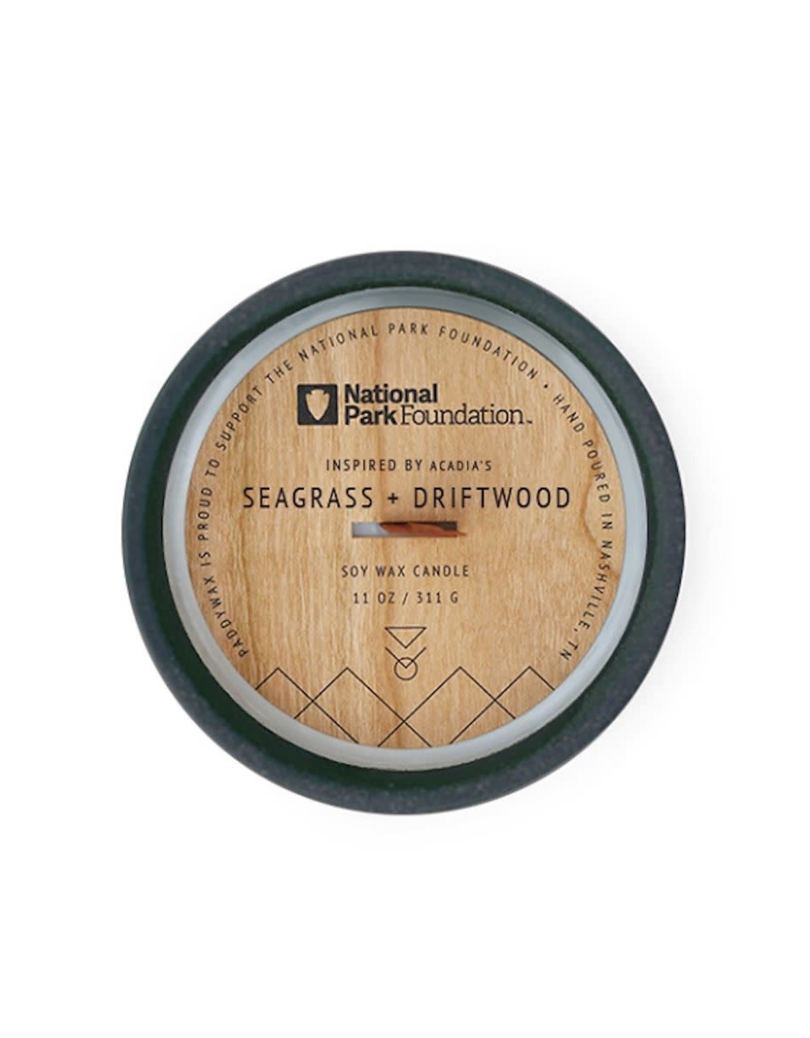 CONTAINER CANDLE NATIONAL PARKS ACADIA SEAGRASS AND DRIFTWOOD DARK BLUE CERAMIC 11OZ
