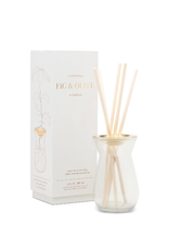 FRAGRANCE DIFFUSER FLORA FIG AND OLIVE IN WHITE GLASS BOTTLE 4OZ