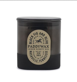 CONTAINER CANDLE VISTA BLACK FIG AND OLIVE IN BLACK GLASS 12OZ