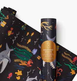 RIFLE PAPER COMPANY WRAPPING PAPER UNDER THE SEA ROLL OF 3 SHEETS
