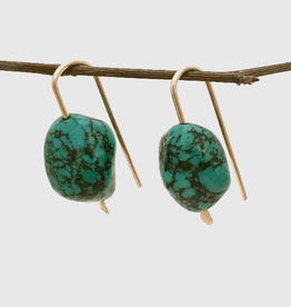 SAVANNAH GOODWIN EARRING ROBBIE HOOK WITH LARGE TURQUOISE STONE GOLD