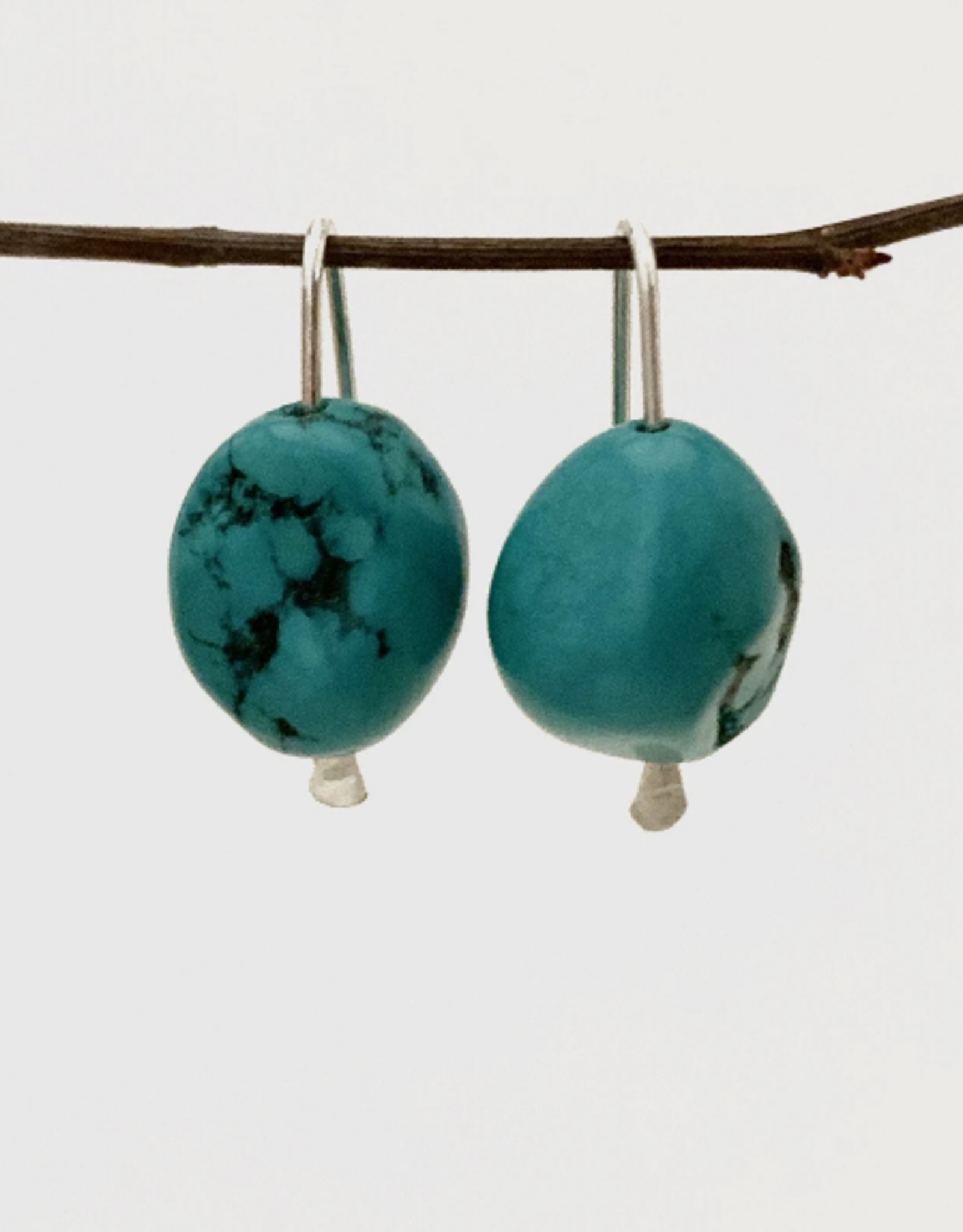 EARRING ROBBIE HOOK WITH LARGE TURQUOISE STONE SILVER