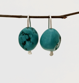 SAVANNAH GOODWIN EARRING ROBBIE HOOK WITH LARGE TURQUOISE STONE SILVER