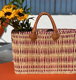 BASKET TOTE STRAW WITH PURPLE STRIPES LARGE