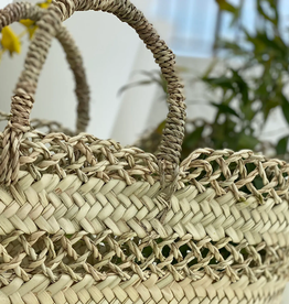 BASKET TOTE STRAW TIGHT AND LOOSE LACE-WEAVE BANDS