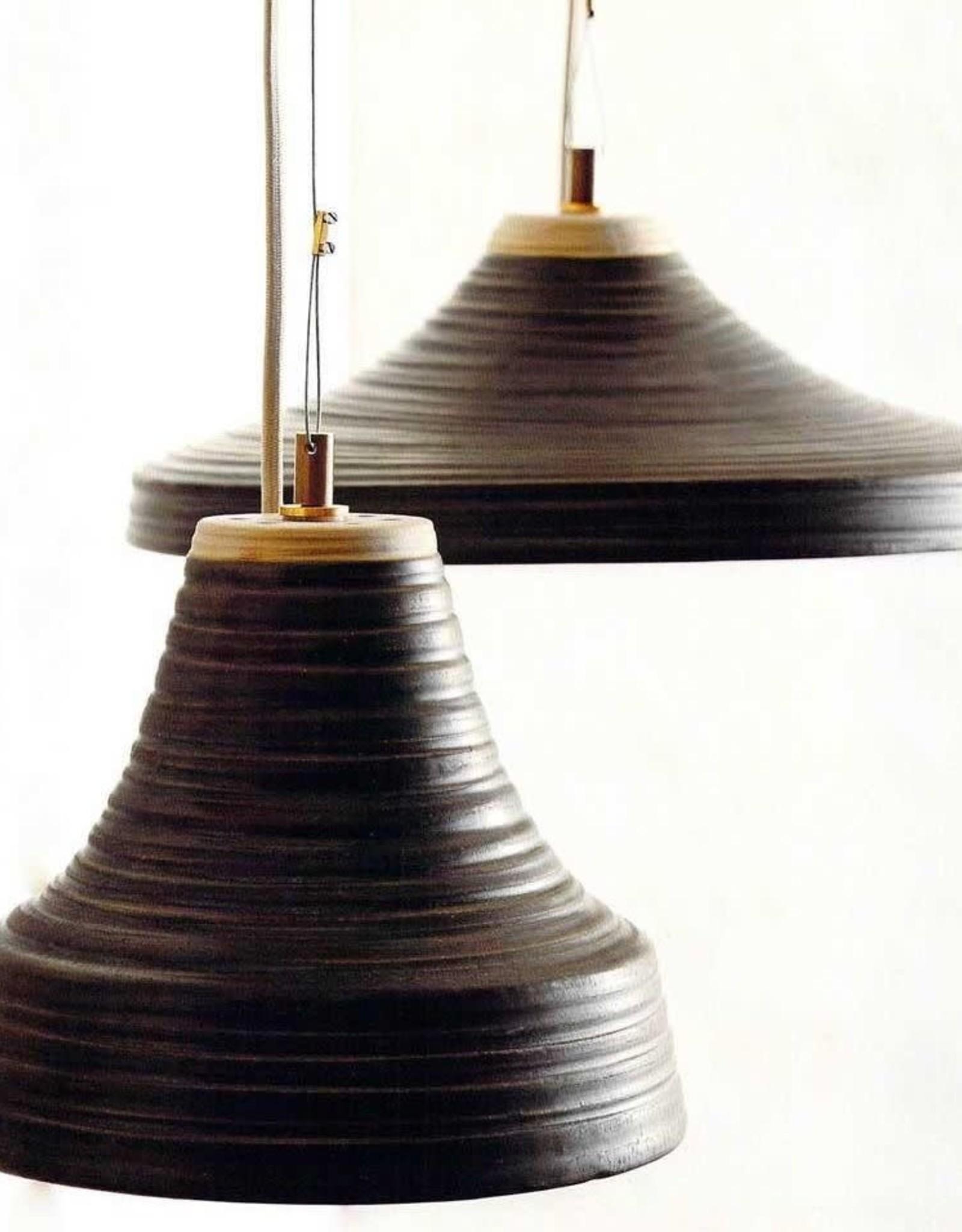 PENDANT LAMP BRUNO GRAY AND NATURAL STONEWARE WIDE