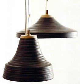 ROOST PENDANT LAMP BRUNO GRAY AND NATURAL STONEWARE WIDE