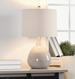 TABLE LAMP COOL GRAY CERAMIC WITH WHITE LINEN HARDBACK SHADE