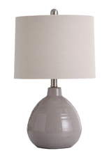 STYLE CRAFT TABLE LAMP COOL GRAY CERAMIC WITH WHITE LINEN HARDBACK SHADE