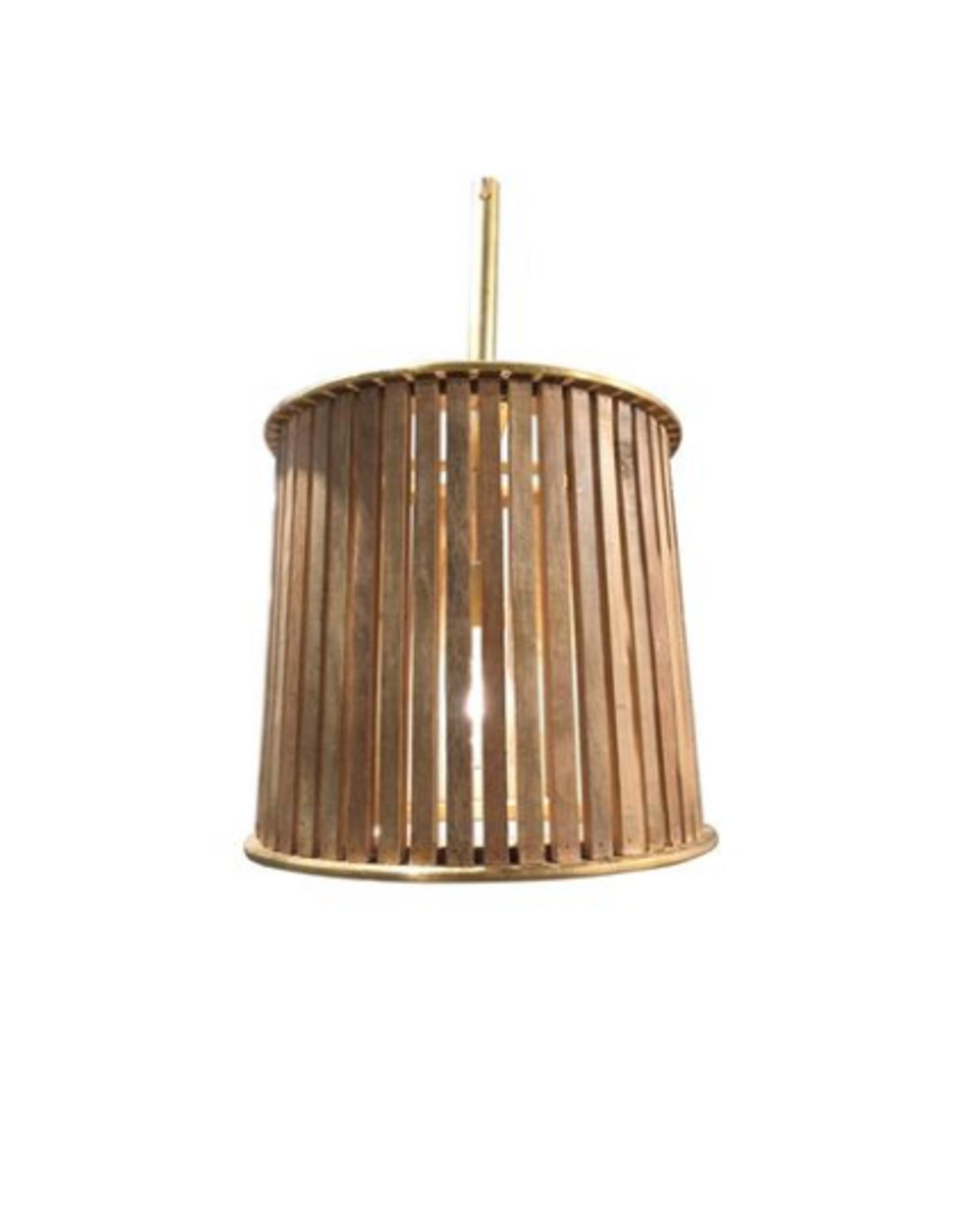 LAMP PENDANT WOOD + METAL BARREL SMALL