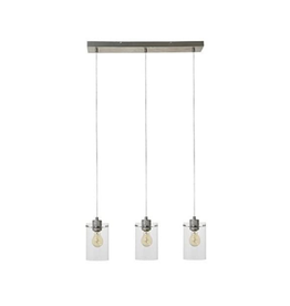 LIGHT & LIVING LAMP HANGING PENDANT VANCOUVER NICKEL SATIN GLASS 4.5 X 25.5 X 8 INCHES