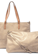 BAGS TOTE AND PURSE 2 IN 1 BRUSHED VEGAN LEATHER METALLIC GOLD