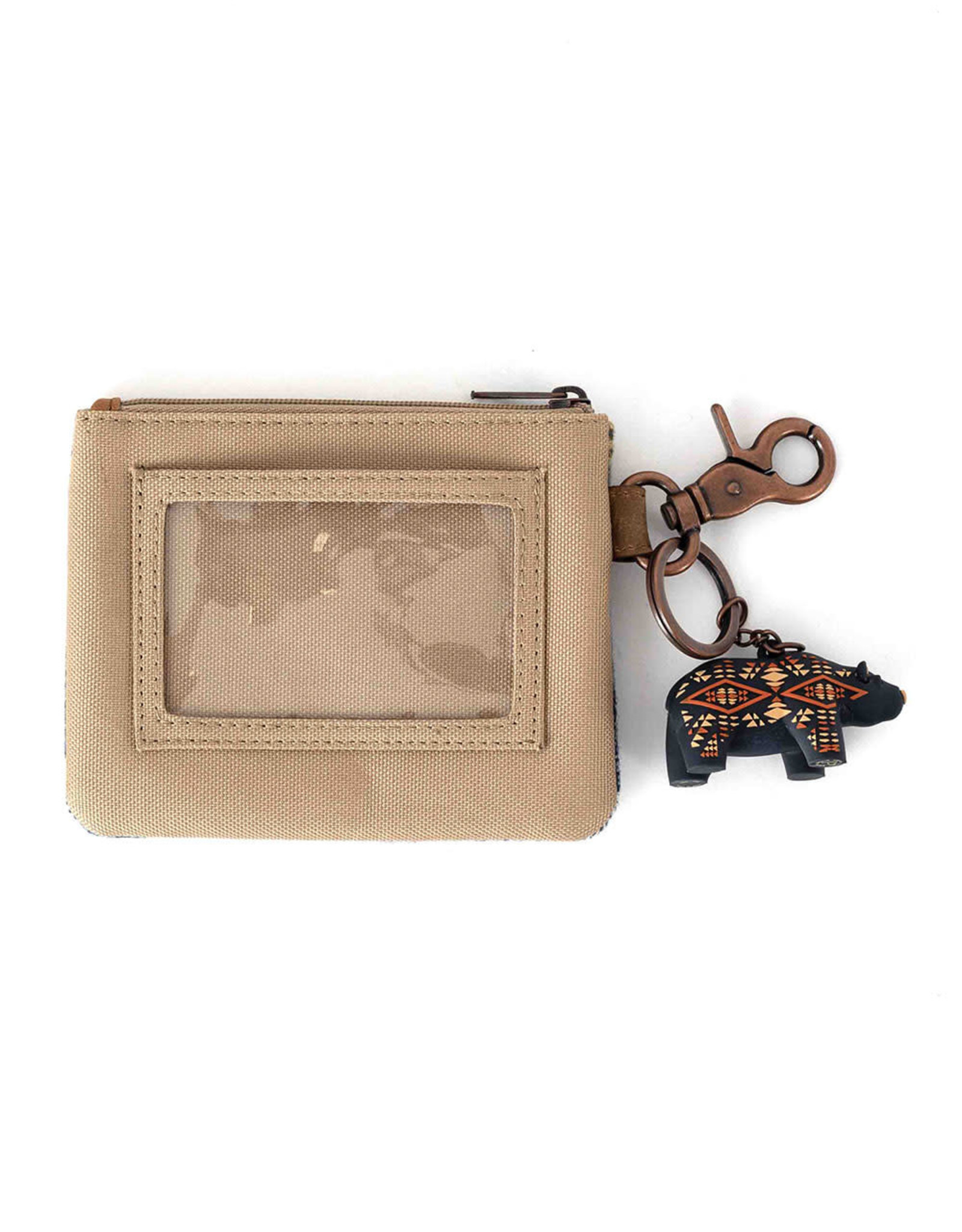 PENDLETON POUCH ID WITH BEAR KEYCHAIN CRESCENT BAY COTTON WOOL