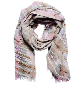 SCARF BLUSH WOVEN EMBROIDERED FRINGE