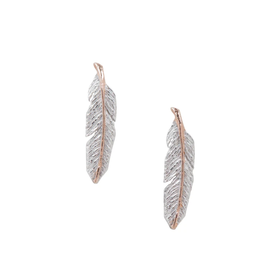 EARRING POST FEATHER SILVER WITH ROSE GOLD SPINE